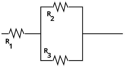 Nesse tipo de associação, resolve-se a resistência equivalente entre R2 e R2 primeiro.