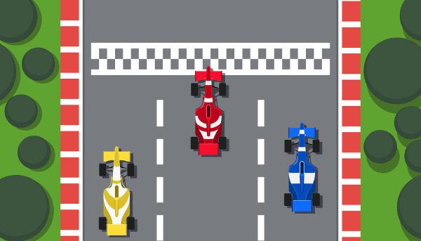 Em uma volta completa, a velocidade média dos carros de Fórmula 1 é igual a zero.
