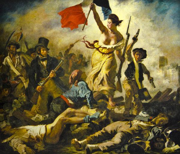 """""""Liberdade guiando o povo"""", de Delacroix, é uma das representações mais conhecidas da Revolução Francesa."""