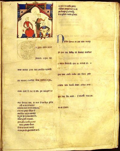 Folha do manuscrito do Cancioneiro da ajuda, conjunto de poemas escritos no século XII. [1]