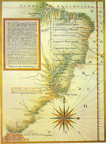 O mapa do Brasil produzido por Luís Teixeira, em 1586.[1]