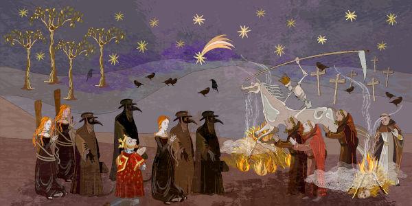 Os médicos que cuidavam dos que adoeciam de peste usavam uma roupa preta de couro e uma máscara em forma de bico de pássaro.[1]