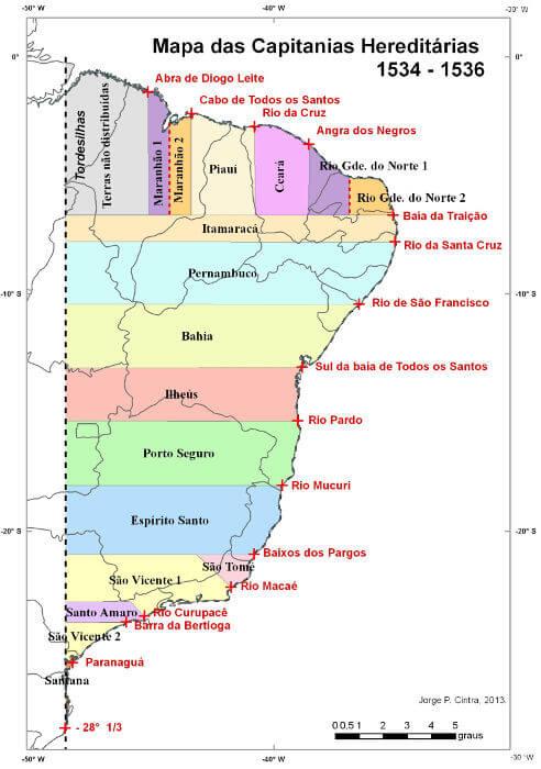 Novo mapa das capitanias hereditárias realizado por Jorge Pimentel Cintra baseado em estudos recentes.**