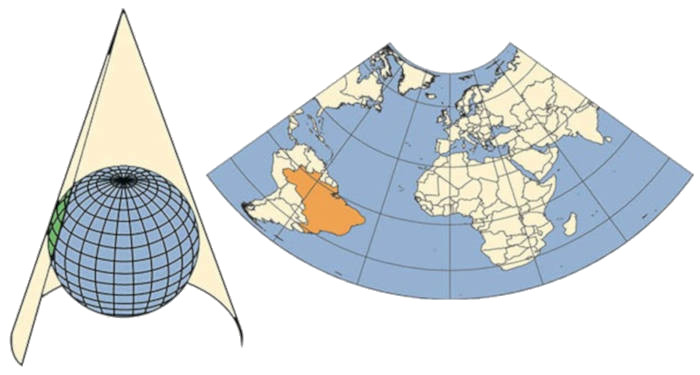 Projeção cônica é projetada sobre um cone tangente ao globo.