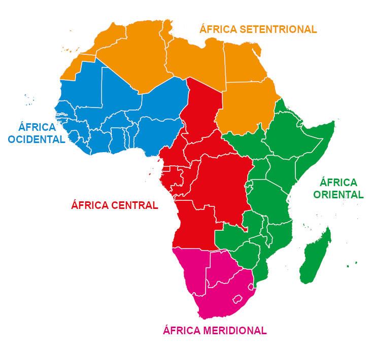O continente africano é dividido em cinco grandes regiões.