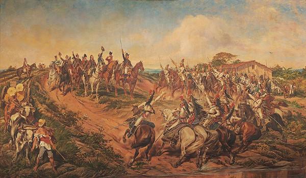 """""""Independência ou morte"""" (1888), obra de Pedro Américo (1843-1905), retrata a histórica declaração de independência do Brasil."""