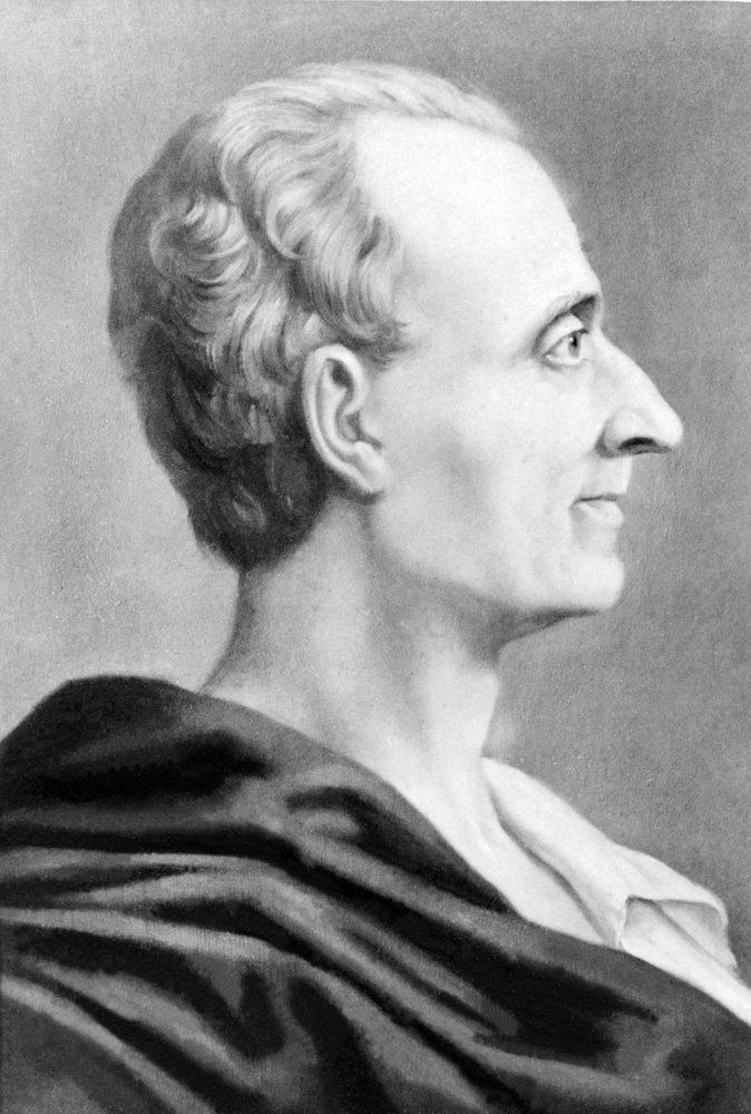 Montesquieu é autor da teoria da tripartição dos poderes em Legislativo, Judiciário e Executivo.