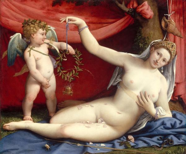 """""""Vênus e Cupido"""", tela de Lorenzo Lotto (1480-1557), são deuses do amor — referências greco-latinas presentes na poesia camoniana."""