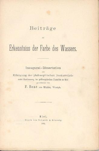 Dissertação de Franz Boas que lhe rendeu o doutorado em física (1881).