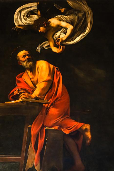 A inspiração de São Mateus (1602), do pintor barroco e italiano Caravaggio (1571-1610). [1]