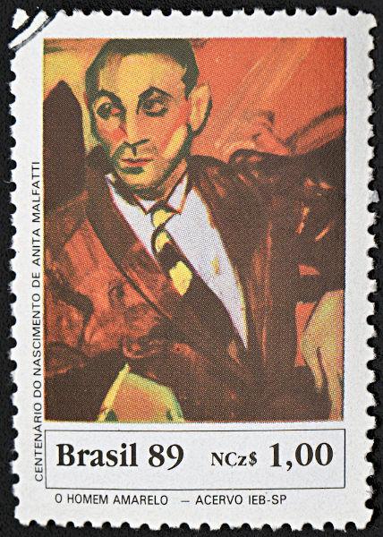 Selo de 1989, que reproduz a tela O homem amarelo, de Anita Malfatti. [1]