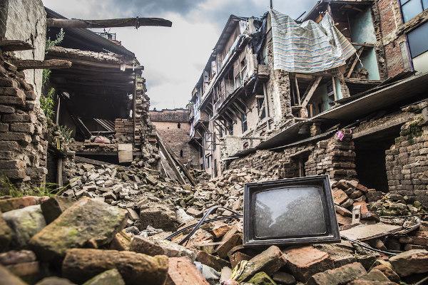 Escombros no Nepal, 2015.