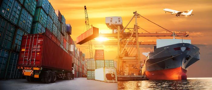 Plataforma logística de comércio internacional.