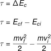 O teorema acima afirma que o trabalho equivale à variação da energia cinética.