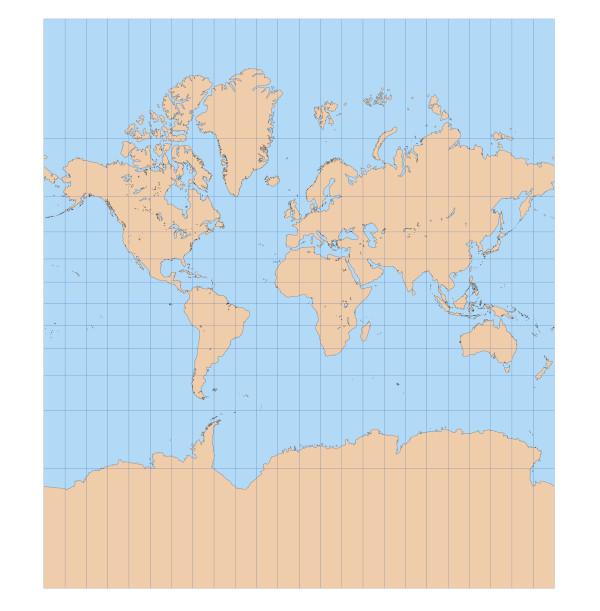 Planisfério produzido com base na projeção de Mercator.