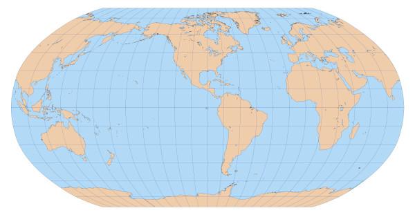 Mapa-múndi produzido com base na projeção de Robinson, que procurou minimizar as distorções.