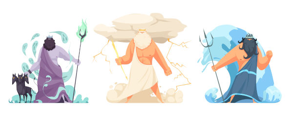 Na mitologia grega, Zeus e seus irmãos lutaram contra Cronos. Após vencê-lo, Hades ficou com o submundo, Zeus, com os céus, e Poseidon, com os mares.