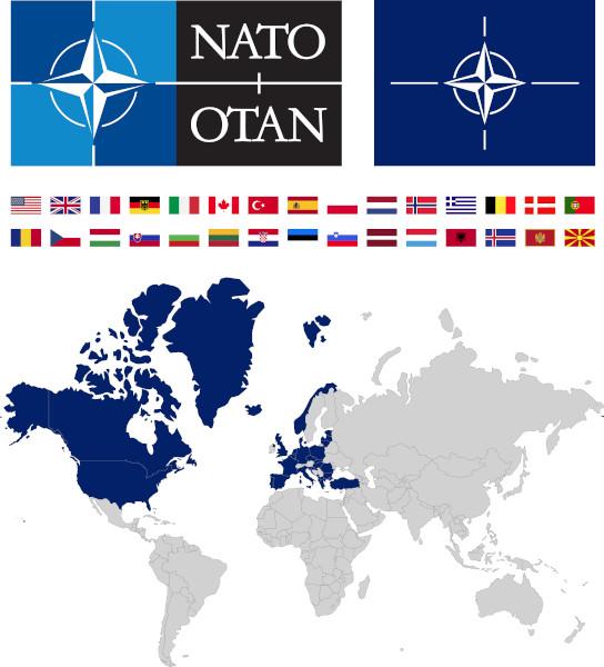 Mapa com os países-membros da Otan.