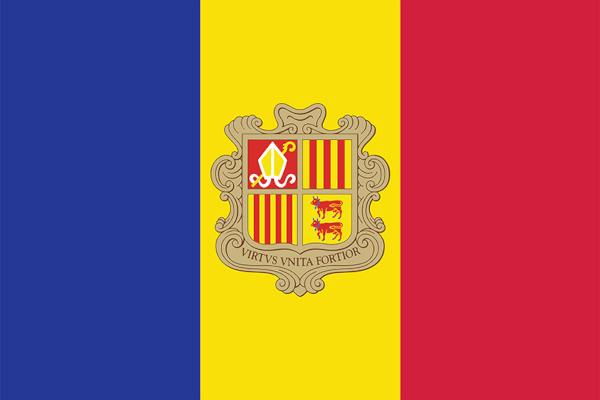 Bandeira de Andorra, com cores que simbolizam a influência da França (azul e vermelho) e da Espanha (amarelo e vermelho).