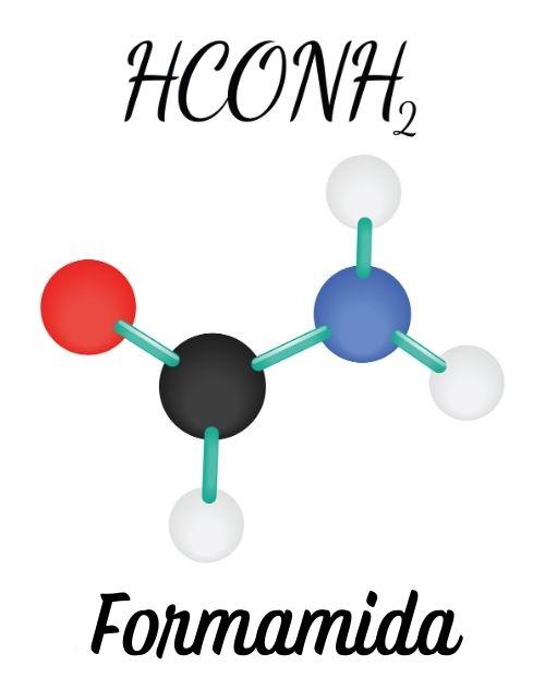 Formamida ou metanamida é a menor molécula possível do grupo amida. A imagem ilustra a estrutura e sua formula molecular.