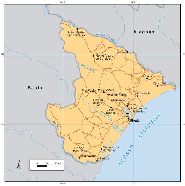 Localização de Sergipe. Fonte: IBGE.