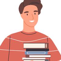 Desenho pessoa segurando livros