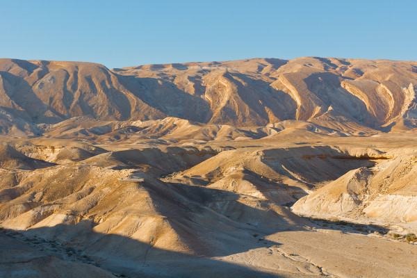 Paisagem colinosa do deserto de Negev, no sul de Israel.
