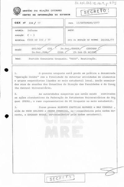 Documento que aponta a troca de informações entre os governos brasileiro e uruguaio para a captura de opositores.