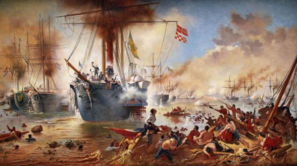 Batalha Naval do Riachuelo – obra baseada na pintura de Victor Meirelles.[1]