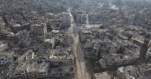 A cidade de Homs, na Síria, foi destruída por bombardeios.