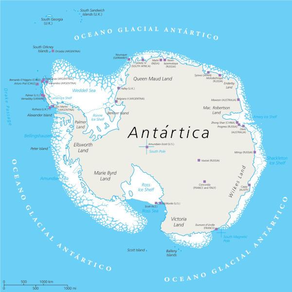 O oceano Austral corresponde ao conjunto de águas que circunda a Antártica.