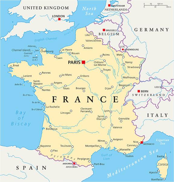 Mapa da França com suas principais cidades e territórios fronteiriços