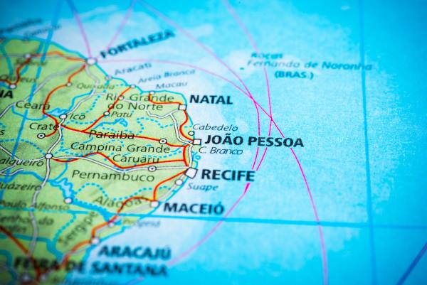 Recorte de mapa mostra localização de João e cidades de entorno