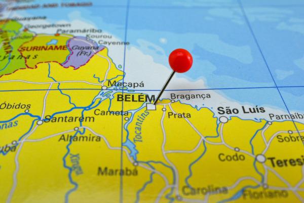 Mapa com localização da cidade de Belém, no litoral paraense.