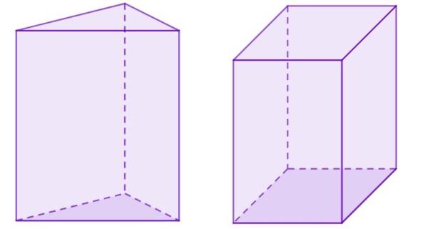Prismas de base triangular e quadrada respectivamente.
