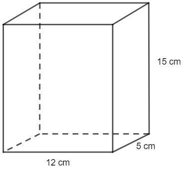 Prisma de arestas medindo 5 cm, 12 cm e 15 cm.