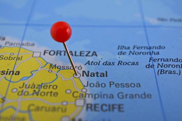 Localização de Natal, na região Nordeste do Brasil.