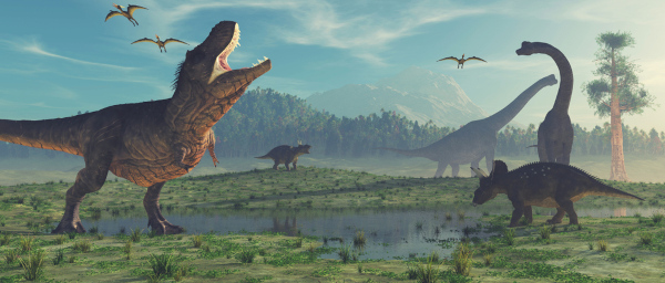 Ilustração de paisagem antiga com diferentes espécies de dinossauros.