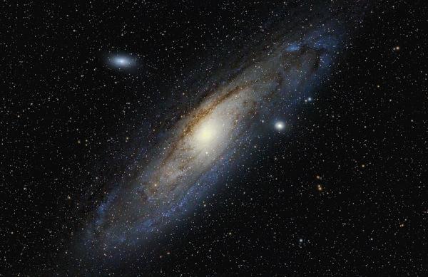 Galáxia de Andrômeda, um exemplo de galáxia elíptica.