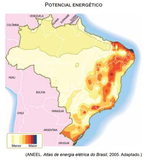 Mapa com potencial energético do Brasil