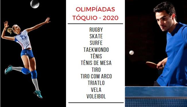 Jogadora de vôlei à esquerda, lista de modalidades das Olimpíadas ao centro e jogador de tênis de mesa à direita.