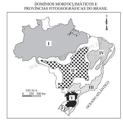 Enunciado de questão com mapa dos domínios morfoclimáticos do Brasil.