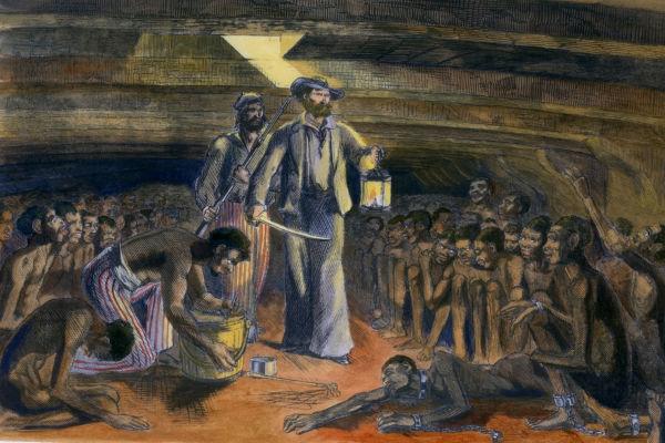 Pintura de africanos escravizados em porão de navio negreiro.
