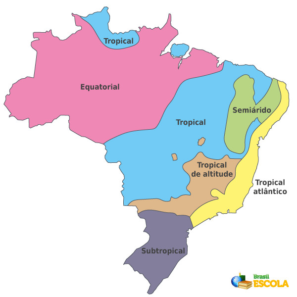 Mapa com delimitação dos climas do Brasil