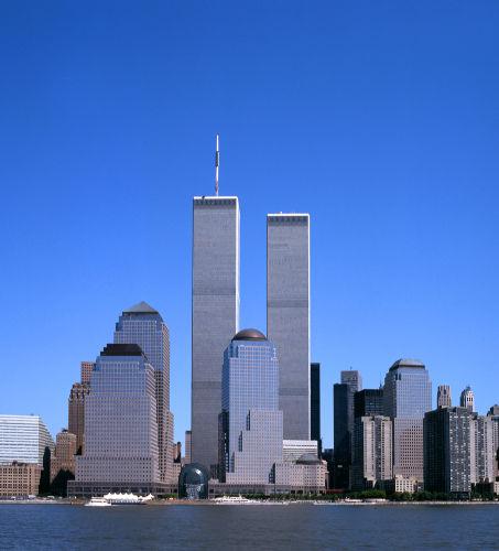O horizonte de Nova Iorque com o World Trade Center visto de NJ