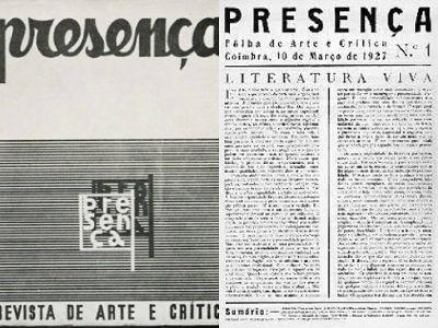 À esquerda, capa da 1ª edição da Revista Presença. À direita, artigo de apresentação escrito por José Régio