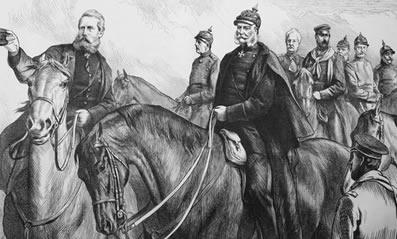 Kaiser Guilherme I e seus generais durante a Guerra Franco-Prussiana
