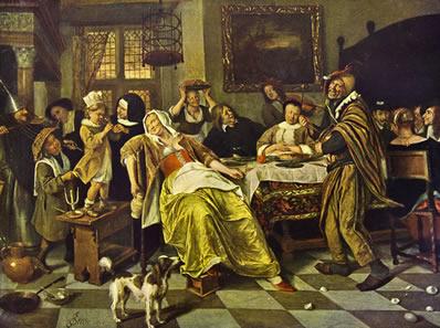 Como nessa obra de Jan Havickszoon Steen (1626 - 1679), a retratação do cotidiano permite a observação de vários aspectos do comportamento humano