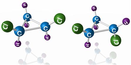 O 1,2-diclorociclopropano apresenta os isômeros acima. No isômero cis os ligantes iguais estão num mesmo plano e no trans eles estão em planos opostos