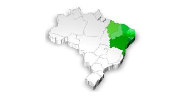 Mapa de localização da Região Nordeste